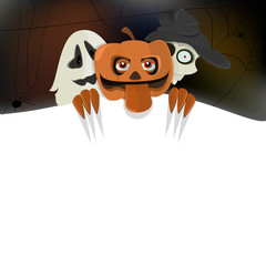 Halloween pumpkin, skeleton and ghost with a white background