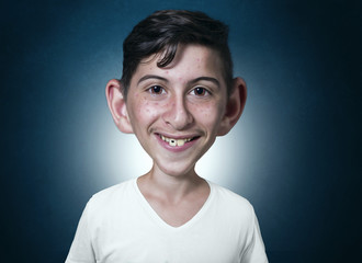 portrait of smiling teenager in comic style with dental problems