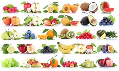 Wall Mural - Früchte Frucht Obst Collage Apfel Orange Banane Orangen Erdbeer