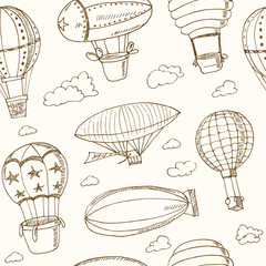 Hot Air Balloons doodle seamless pattern. Vintage illustration