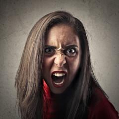 Angry girl screaming