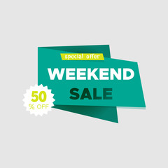 Weekend sale special offer banner,up to 50% off. Vector illustration.Use for advertising product or service. Hot Offer label or sticker. Sale tag.Green icon on white background.Icon for special offer.