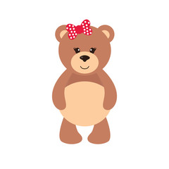 cartoon bear girl with bow