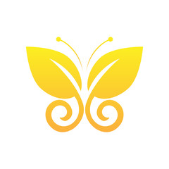 Eco icon yellow butterfly symbol. Vector illustration isolated on the light background. Fashion graphic design. Beauty concept. Vivid colors butterfly logo. Smooth shape. Plain flat style colors.