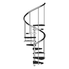 Sketch Spiral ladder isolated. Side view.  Vector illustration on a white background.