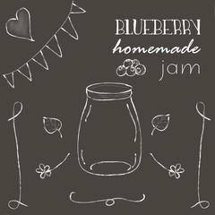 Chalkboard with jar of blueberry jam