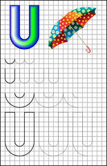 Educational page with alphabet letter U on a square paper. Developing skills for writing and drawing. Vector image.