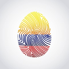 colombian flag fingerprint colorful icon vector illustration design