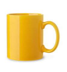 Blank yellow coffee cup