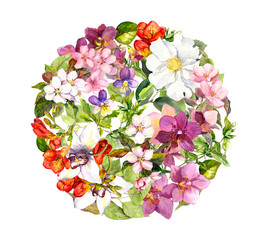 Floral ball - flowers in circle pattern, butterflies. Watercolor