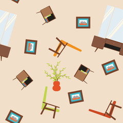 Seamless vector pattern with armchairs, paintings, mirrors and nightstand