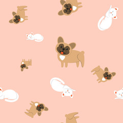 Seamless pattern of domestic animals on a pink background.