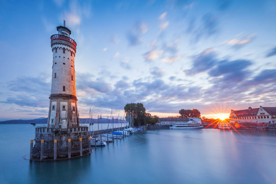 LINDAU, GERMANY - Lighthouse at port of Lindau harbour, Lake Constance, Bavaria