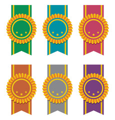 vector set of ribbon badges