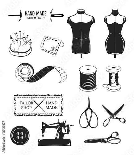 """""""Set of designed elements. Tailor shop theme. Male and ..."""
