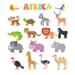 Animals of Africa. Vector set of cartoon jungle animals