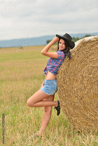quotyoung american cowgirl woman portrait outdoors quot stock