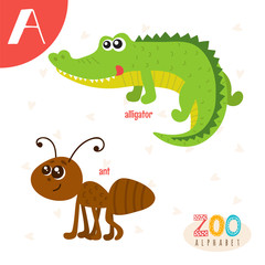 Letter A. Cute animals. Funny cartoon animals in vector. ABC boo