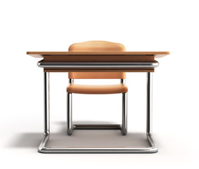 school desk and chair 3d render on white background