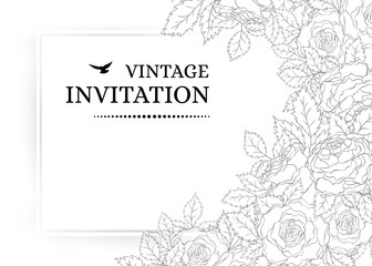 Vintage romantic invitation card with delicate roses