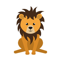 yellow lion animal character cute cartoon. vector illustration