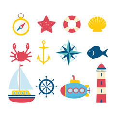 Nautical design elements in flat style. Collection of nautical s