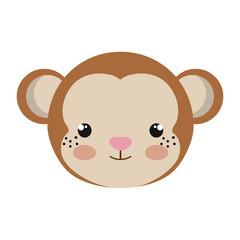 brown monkey animal character cute cartoon. vector illustration