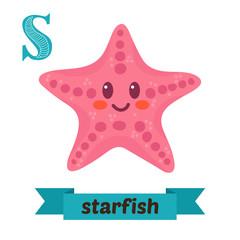 Starfish. S letter. Cute children animal alphabet in vector. Fun