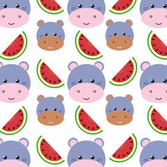purple hippopotamus animal character cute cartoon and watermelon background. vector illustration