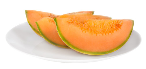 Melon pieces on a plate