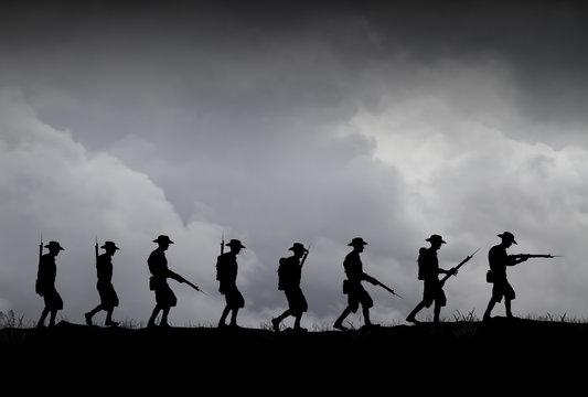ANZAC illustration. World War 1 Australian and New Zealand soldiers.
