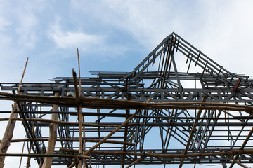 Structural steel roof truss.