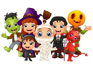 Halloween kids costumes. witch, Frankenstein, Dracula, cat costume, Red Devil, mummy, Pumpkin Head