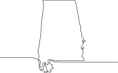 continuous line drawing of Alabama state