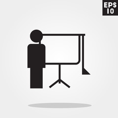 Man and presentation icon in trendy flat style isolated on grey background. Man and presentation symbol for your design, logo, UI. Vector illustration, EPS10.