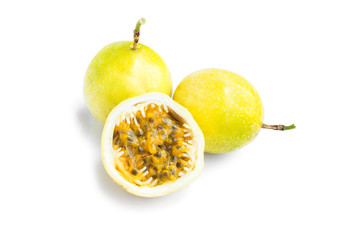 Fresh Passion fruit slice on white background, fruit for healthy