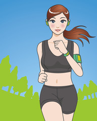 Woman running in the park, vector illustration