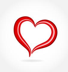 Gossy heart love vector logo