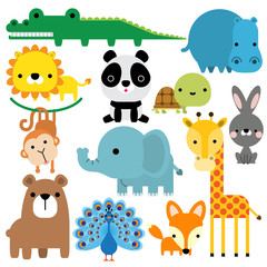 Vector illustration of cute animals icon set isolated on white background.
