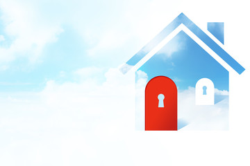 House Symbol with a Red Door and Key Hole in the Cloudy Blue Sky