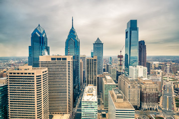 Fototapete - Top view of downtown skyline Philadelphia USA