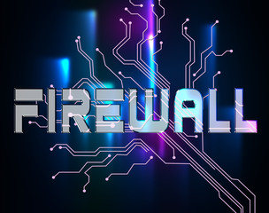Firewall Word Means Protected Online And Safety