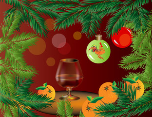 Поздравительная открытка к Новому году. Векторное изображение веток ели, елочного шара с петухом, апельсинов и бокала коньяка на столе.