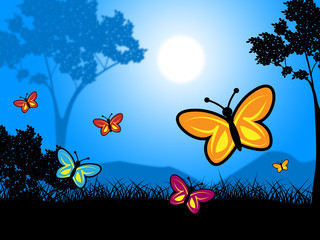 Tuinposter Vlinders Butterflies Nature Indicates Outdoors Environment And Natural