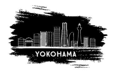 Yokohama Skyline Silhouette. Hand Drawn Sketch.
