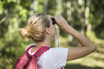 woman backpacker using twin