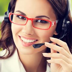 happy smiling brunette businesswomen, support phone female opera