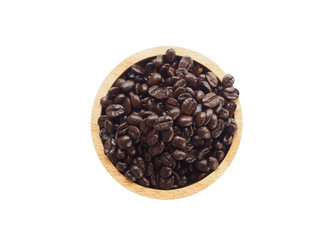 Top view of fresh seed coffee in wooden bowl on white background