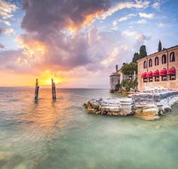 Beautiful sunset in villa Lake Garda