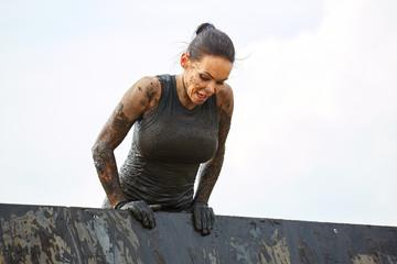 Extrim survival race concept. Action woman